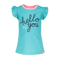 T-shirt with hello you embroidery hot turquoise