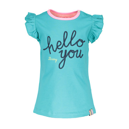 B.Nosy B.Nosy T-shirt with hello you embroidery hot turquoise