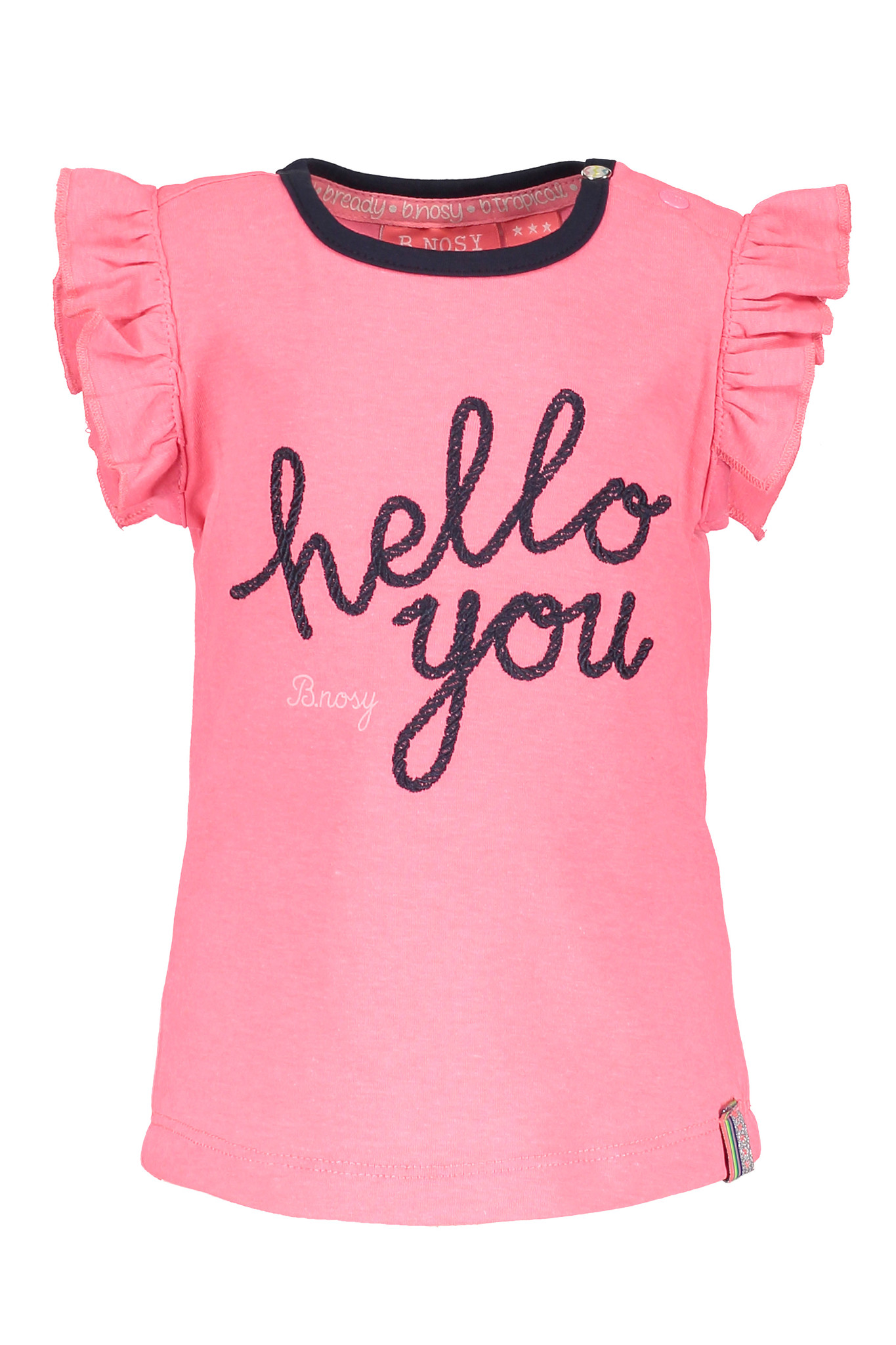 B.Nosy B.Nosy T-shirt with hello you embroidery candy