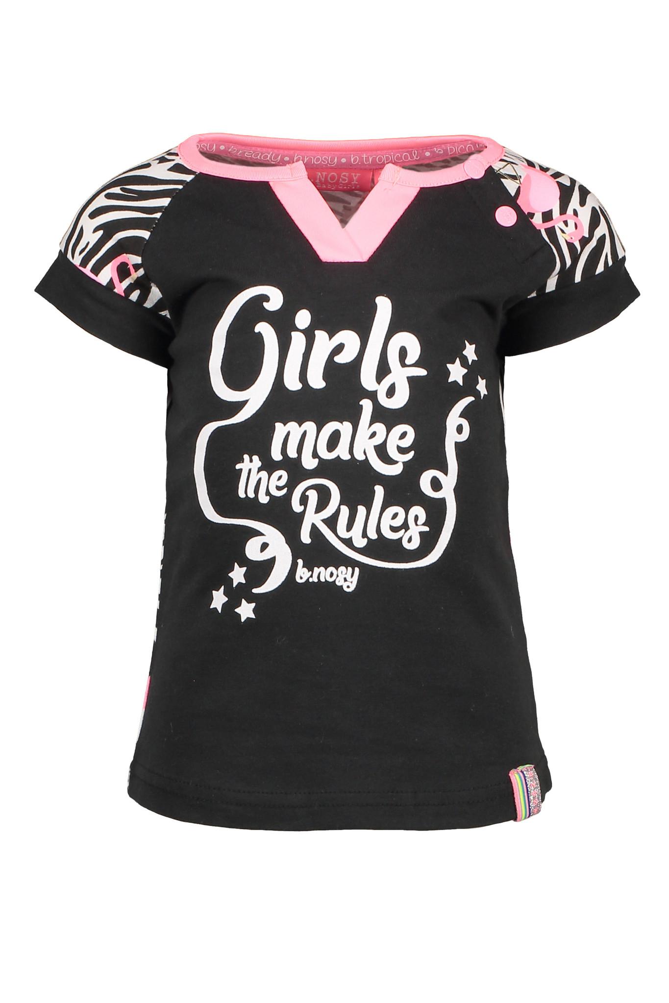 B.Nosy B.Nosy T-shirt with contrast print sleeves white flamingo zebra ao