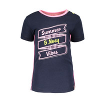 T-shirt with print and outline embroidery midnight blue