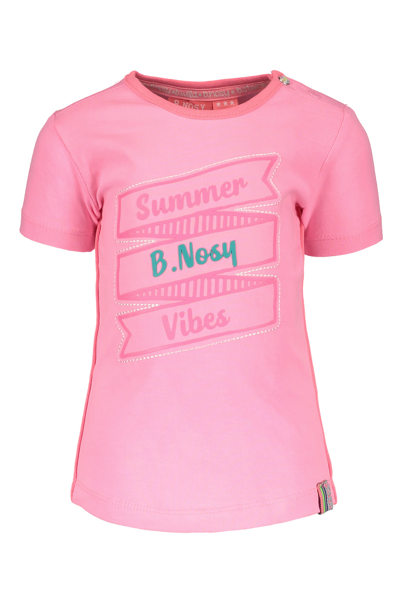 B.Nosy B.Nosy T-shirt with print and outline embroidery bubblegum