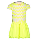 B.Nosy B.Nosy jurkje with balloon skirt zigzag electric yellow rainbow melee