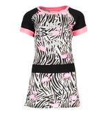 B.Nosy B.Nosy jurkje with contrast sleeve/ waistband white flamingo zebra ao