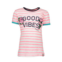 T-shirt white printed candy stripes