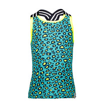 Singlet with elastic hot turquoise pinther ao midnight electric yellow