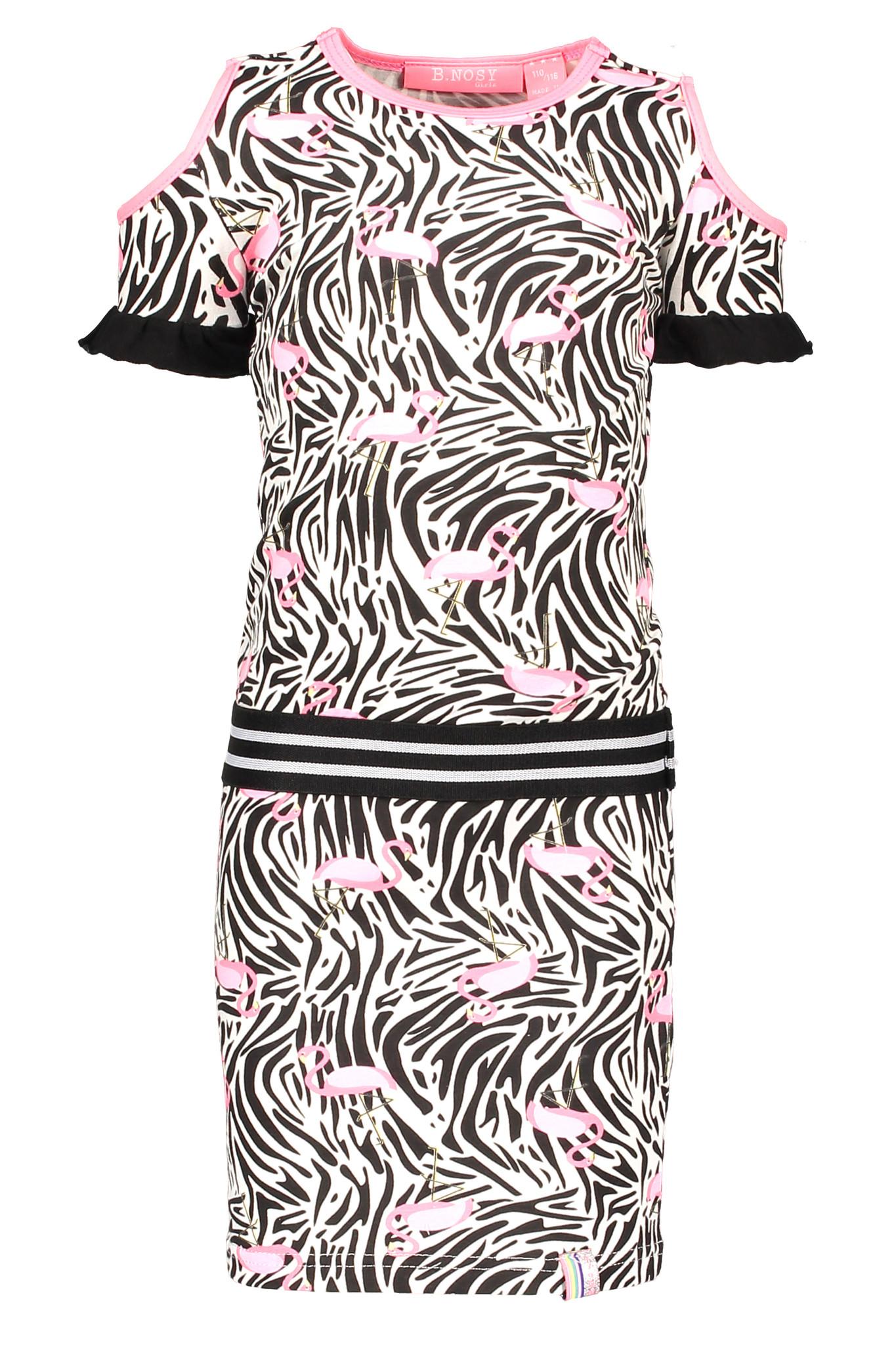 B.Nosy B.Nosy Jurk with open shoulder part white flamingo zebra ao