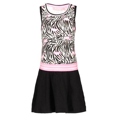 B.Nosy B.Nosy Jurk with rib neck, elastic waistband white flamingo zebra ao