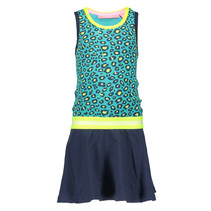 Jurk with rib neck, elastic waistband hot turquoise panther ao midnight electric yellow