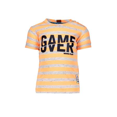 B.Nosy B.Nosy T-shirt game over stripe neon orange ecru melee