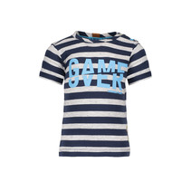 T-shirt game over stripe midnight blue ecru melee