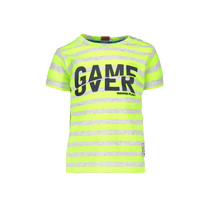 T-shirt game over stripe neon yellow ecru melee