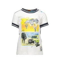 T-shirt safari with rib neck and sleeves chalk white