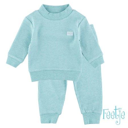 Feetje Feetje pyjama wafel baby Groen melange