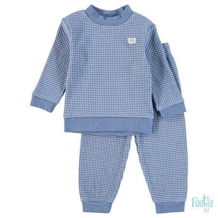 Feetje Feetje pyjama wafel kids Blue melange