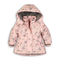 Winterjas love light pink aop