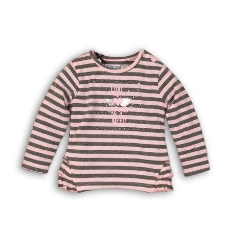 Dirkje Dirkje longsleeve light pink + grey melee stripe