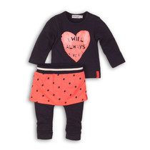 2-delig setje feathers navy + bright pink + dots