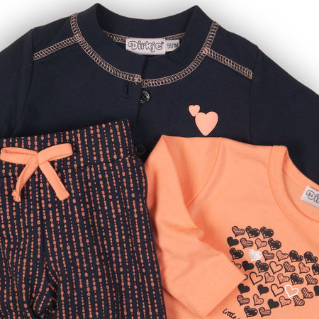 Dirkje Dirkje 3-delig setje little and lovely navy + peach + aop