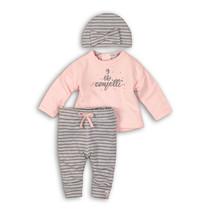 2-delig setje confetti light pink + grey melee stripe