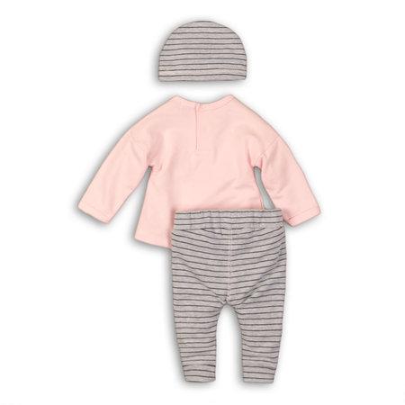 Dirkje Dirkje 2-delig setje confetti light pink + grey melee stripe