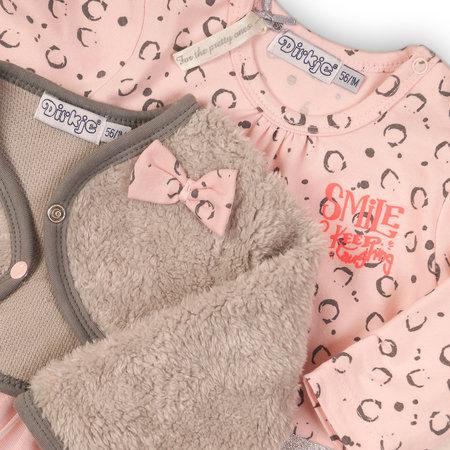 Dirkje Dirkje 3-delig setje smile grey + light pink aop