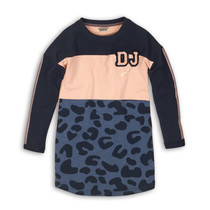 Jurk B-Bonjour navy+ dusty pink + blue melee
