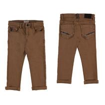 Broek soft slim fit brown