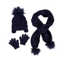 Muts, sjaal en handschoenen set navy