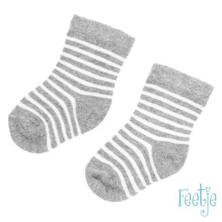 Feetje Feetje sokjes streep grijs