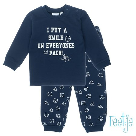 Feetje Feetje pyjama I put a smile marine