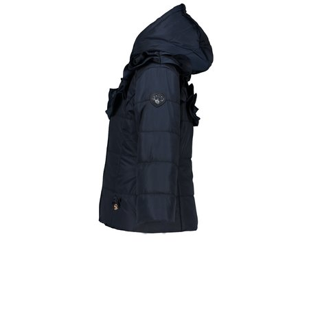Le Chic Le Chic winterjas with ruffle-insert & belt blue navy