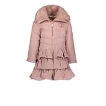 Winterjas with ruffle dull luxury pink dawn