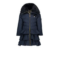 Winterjas with ruffle dull luxury blue navy