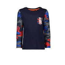 Longsleeve combi solid aop sleeves pocket TYGO&vito navy