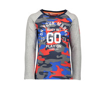 Longsleeve combi aop solid on your marks go grey melee