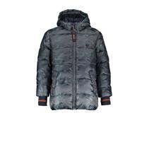 Winterjas Ben hooded camouflage dark grey blue