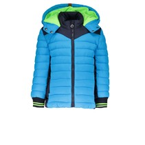 Winterjas with contrast side panels ao camo bright blue