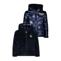 Winterjas reversible hooded fur jacket navy
