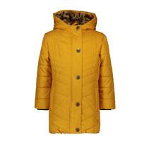 Winterjas long hooded jacket fancy quilting oker