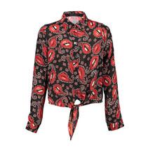 Blouse Lola black w. red print