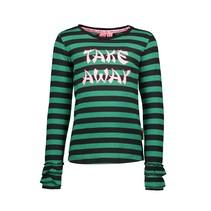 Longsleeve stripe with 2layers rib cuff, high desity print emerald green