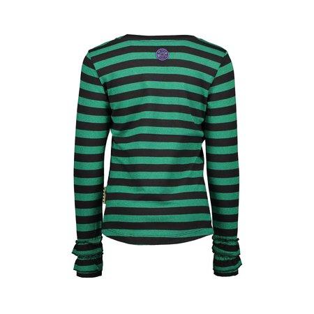 B.Nosy B.Nosy longsleeve stripe with 2layers rib cuff, high desity print emerald green