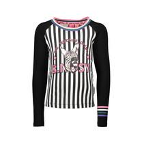Longsleeve with panel print zebra/stripe chalk white