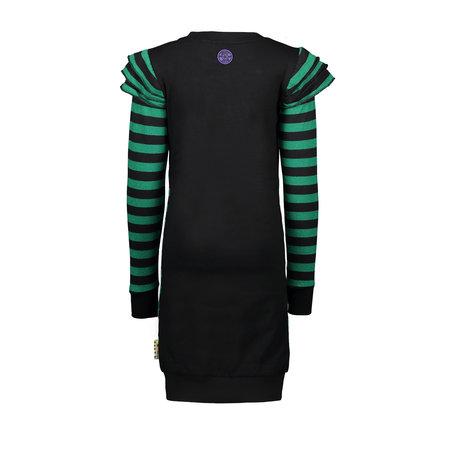 B.Nosy B.Nosy jurk with rib layer sleeve emerald green