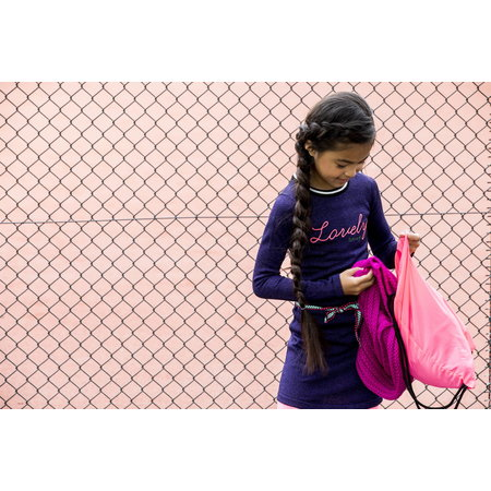 B.Nosy B.Nosy jurk knitted with belt grape purple