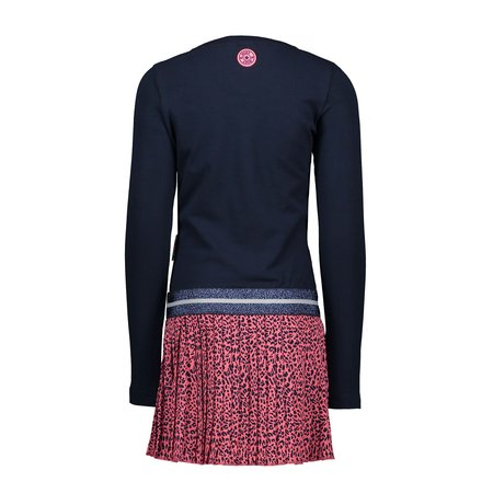 B.Nosy B.Nosy jurk with panther plisse skirt part ink blue