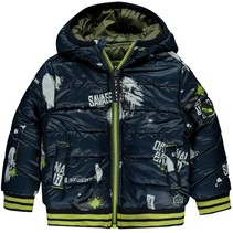 Winterjas Vinno mini dark green & dark blue text reversibel