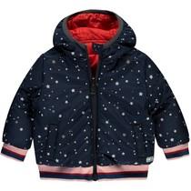 Winterjas Vana dark navy stars & lollipop red