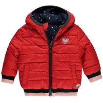 Winterjas Vana dark navy stars & lollipop red